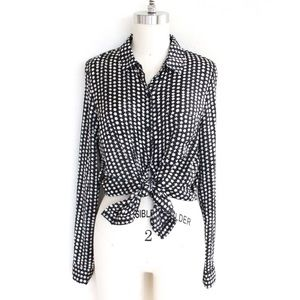 Forever 21 Star Print Button Down Blouse